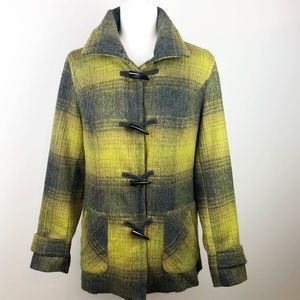 Coldwater Creek | Lime Green & Gray Plaid Jacket